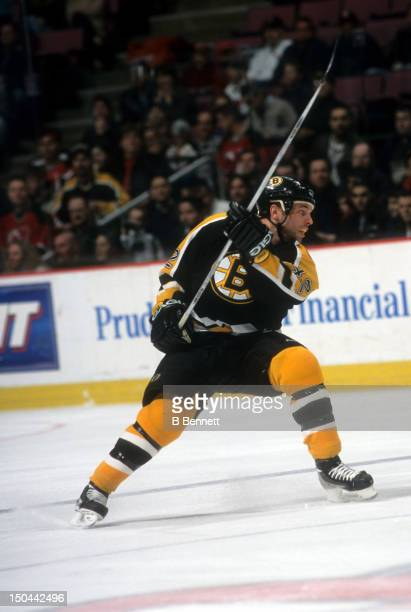 Stock of the Boston Bruins shoots during an NHL game against the New Jersey Devils circa 2002 at the Continental Airlines Arena in East Rutherford,...
