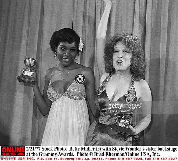 Stock Photo Bette Midler with Stevie Wonder's sister backstage at the Grammy Awards