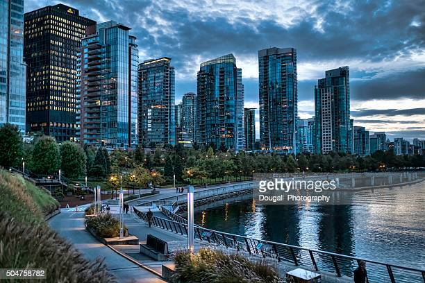 Stock Photo of Walking Path in Downtown Vancouver at Dusk