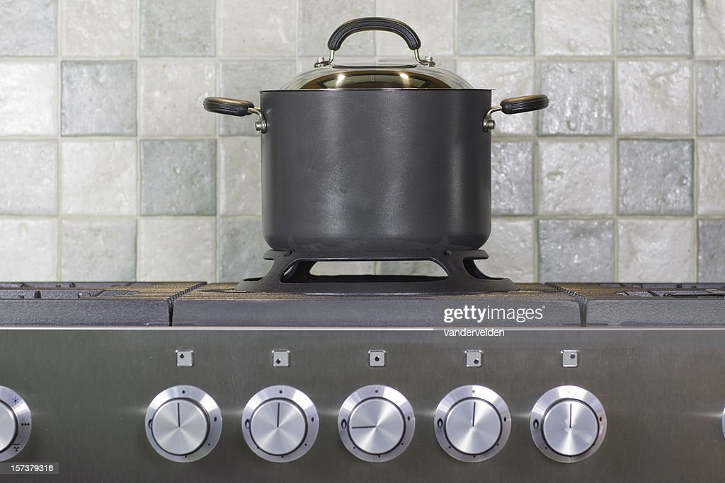 Stock Pot On The Cooker : Stock Photo
