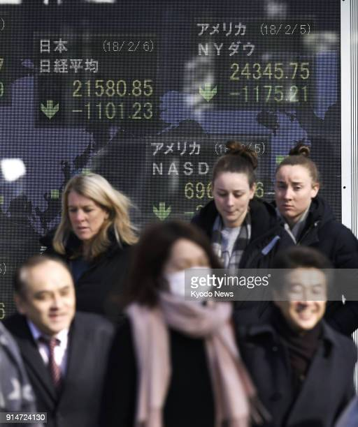A stock price board on a Tokyo street shows the key Nikkei index plunging over 1100 points or about 49 percent in the morning on Feb 6 2018 ==Kyodo
