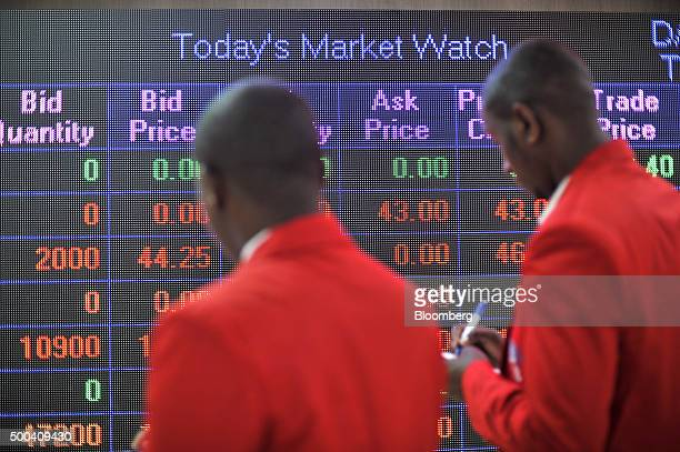 Stock price information sits on an electronic information screen inside the Nairobi Securities Exchange Ltd in Nairobi Kenya on Tuesday Dec 8 2015...