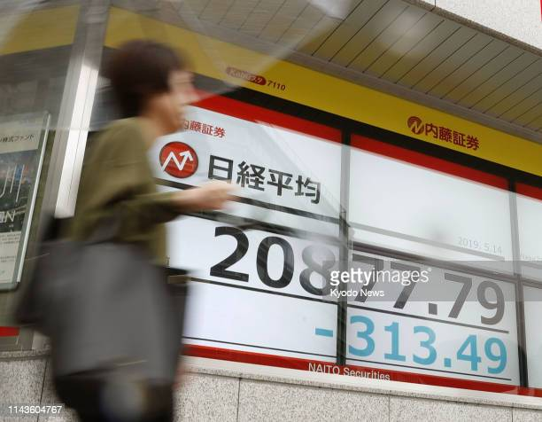 A stock price monitor in Tokyo's Chuo ward shows the 225issue Nikkei Stock Average falling below the 21000 line in the morning of May 14 2019 amid...