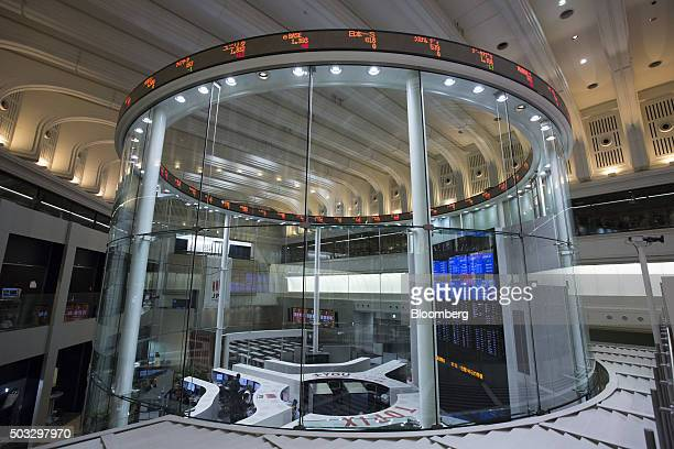 Stock tickers are displayed on the trading floor of the Tokyo Stock Exchange operated by Japan Exchange Group Inc on the first trading day of the...