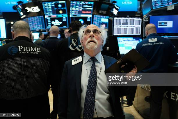 Stock trader Peter Tuchman works on the floor of the New York Stock Exchange on March 09, 2020 in New York City. As global fears from the coronavirus...