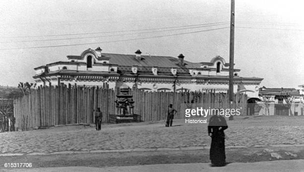 A stockade surrounds the house where the czar's family was confined during the Bolshevik Revolution in Yekaterinburg
