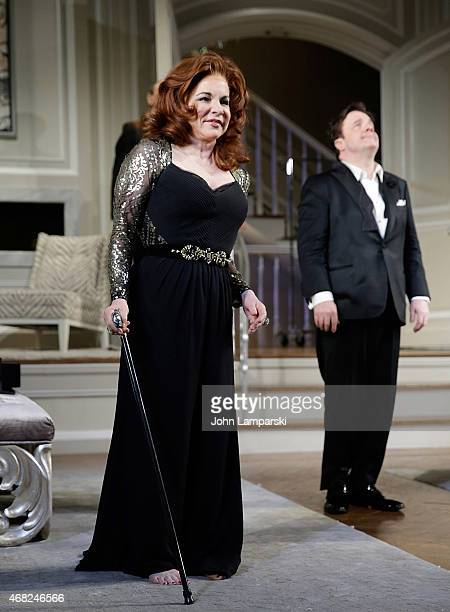 Stockard Channing and Nathan Lane onstage during 'It's Only A Play' on Broadway welcomes Nathan Lane TR Knight at The Bernard B Jacobs Theatre on...