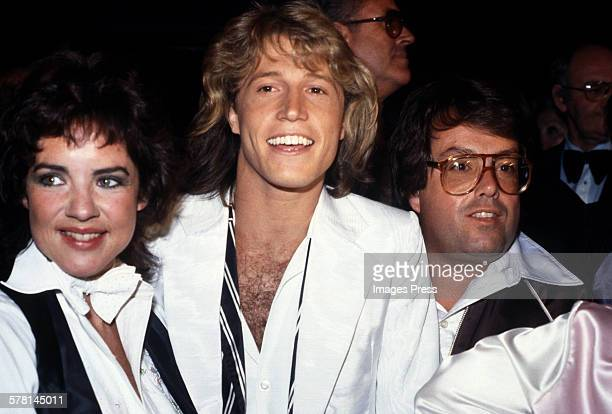 Stockard Channing Andy Gibb and Allan Carr circa 1980 in New York City