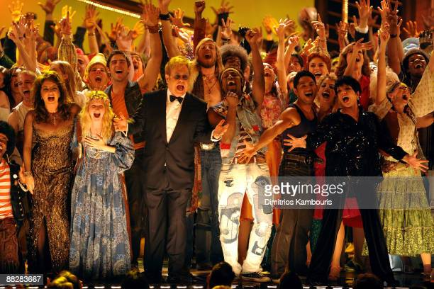 Stockard Channing Elton John and Liza Minnelli perform with the casts of West Side Story Hair Shrek Rock of Ages Pal Joey 9 to 5 and Billy Elliot on...