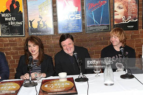 """Stockard Channing, Nathan Lane and Rupert Grint attend the """"It's Only A Play"""" Cast Photocall at Joe Allen Restaurant on August 19, 2014 in New York..."""