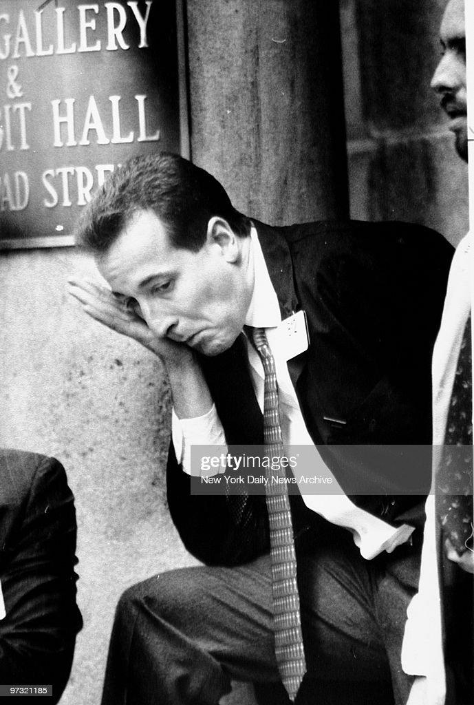 Stockbroker Edward Landi looks hard hit after Black Monday in the Stock Exchange, Manhattan.