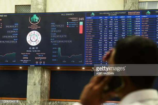 A stockbroker monitors the latest share prices during a trading session at the Pakistan Stock Exchange in Karachi on March 9 2020