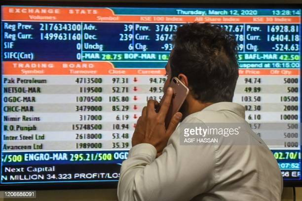 A stockbroker talks on his cellphone as he watches share prices on a screen at the Pakistan Stock Exchange in Karachi on March 12 2020