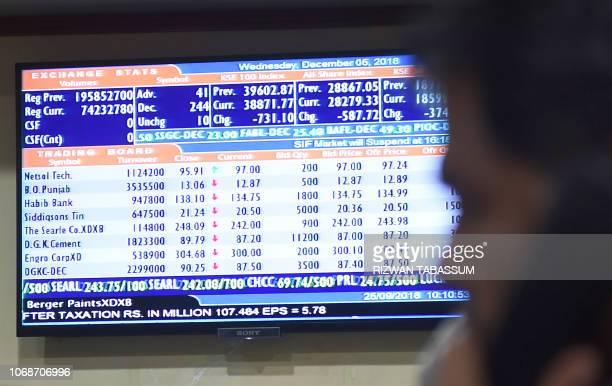 A stockbroker talks on phone as he monitors share prices during a trading session at the Pakistan Stock Exchange in Karachi on December 5 2018 The...