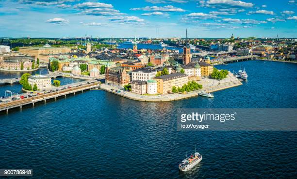 stockholm aerial panorama over gamla stan city waterfront landmarks sweden - stockholm stock pictures, royalty-free photos & images