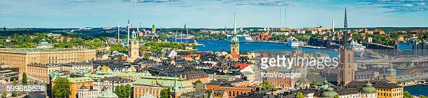 Stockholm aerial panorama over Gamla Stan spires and waterfront Sweden