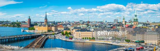 stockholm aerial panorama over gamla stan waterfront city hall sweden - waterfront stock pictures, royalty-free photos & images