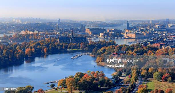 stockholm - aerial view of djurgården and downtown in autumn - estocolmo fotografías e imágenes de stock