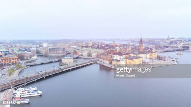 Stockholm -  Aerial View of Old Town and City