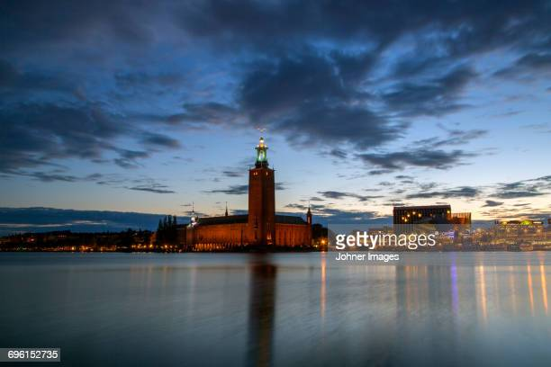 Stockholm city hall at dusk, Sweden