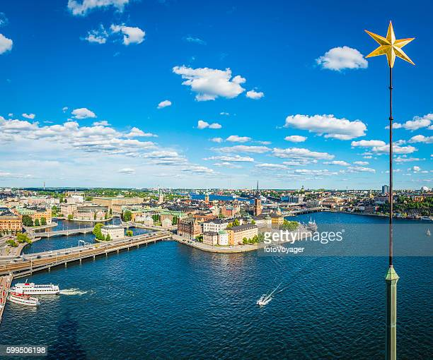 Stockholm City Hall Golden Star overlooking Gamla Stan waterfront Sweden
