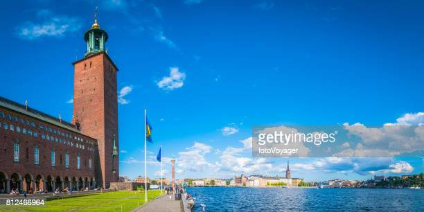 Stockholm City Hall overlooking Gamla Stan and Sodermalm panorama Sweden