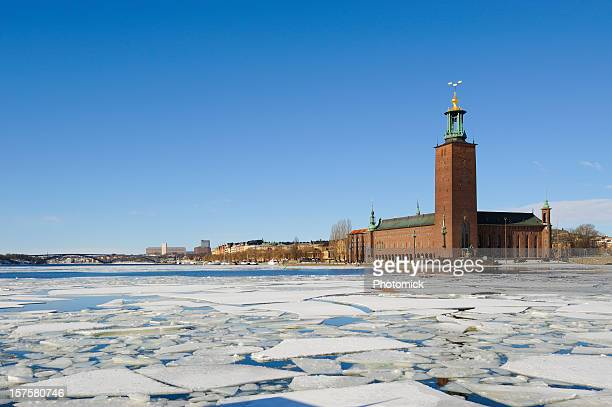 stockholm city hall, stadshuset - ice floe stock pictures, royalty-free photos & images