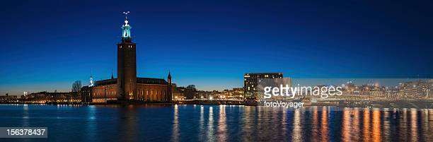 stockholm city hall waterfront illuminated sweden - nobel prize stock pictures, royalty-free photos & images
