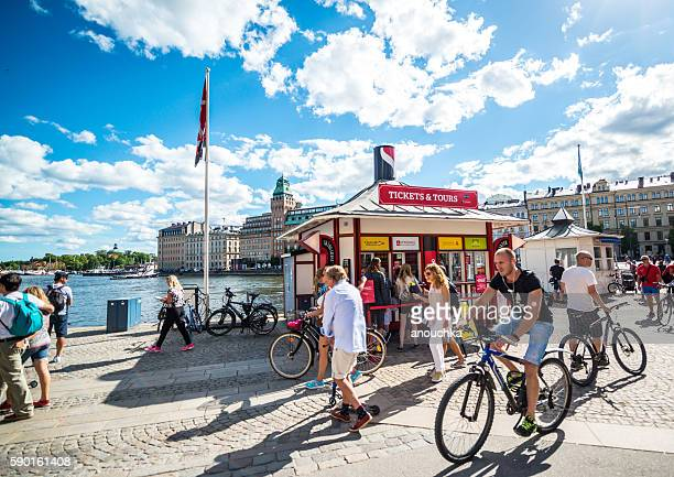 Stockholm Embankment full of tourists in summer, Sweden