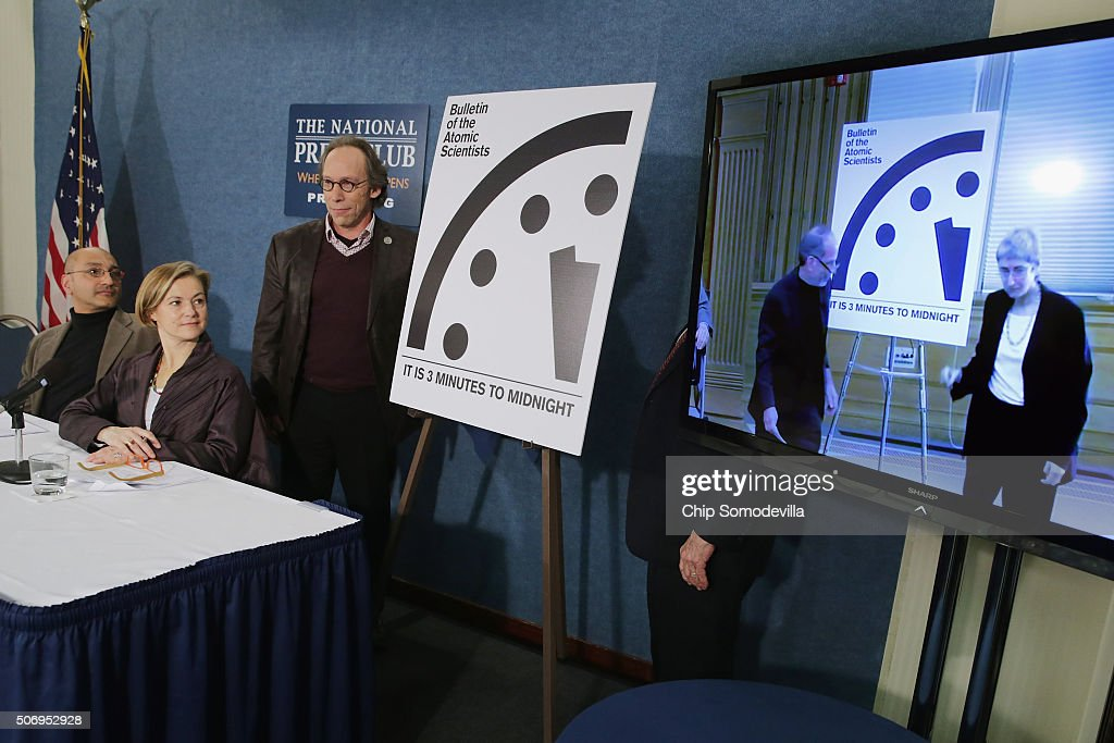 """The Bulletin of the Atomic Scientists Discusses Adjusting The """"Doomsday Clock"""" : News Photo"""
