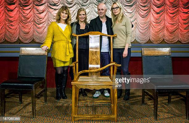 Stockholm film festival jury members Lena Endre, Helena Danielsson, Kristian Petri and Moa Gammel pose with a chair created by Chinese artist Ai...