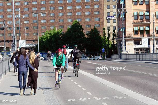 Stockholm. Here: Vasabron bicycle lanes on the bridge that leads to the old town of Stockholm.