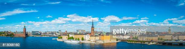 Stockholm iconic landmark cityscape panorama City Hall Gamla Stan Sweden