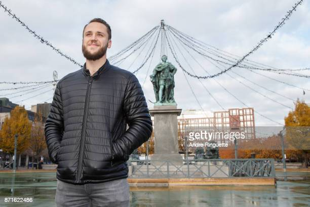 Stockholm native Fredrik Claesson of the Ottawa Senators poses for a photo during a walking tour with Canadian media on November 8 2017 in Stockholm...