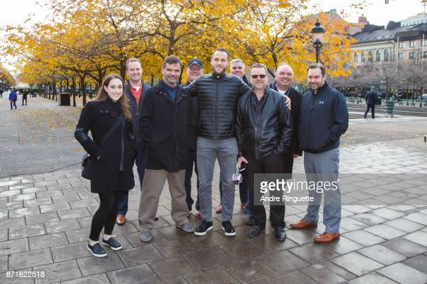 Stockholm native Fredrik Claesson of the Ottawa Senators poses for a group photo during a walking tour with Canadian media on November 8 2017 in...