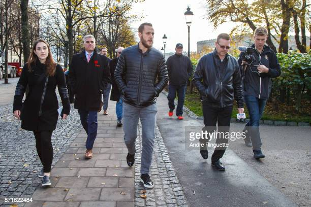 Stockholm native Fredrik Claesson of the Ottawa Senators takes Canadian media on a walking tour on November 8 2017 in Stockholm Sweden