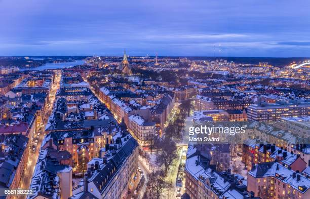 stockholm -  panoramic view of södermalm in winter - stockholm stock pictures, royalty-free photos & images
