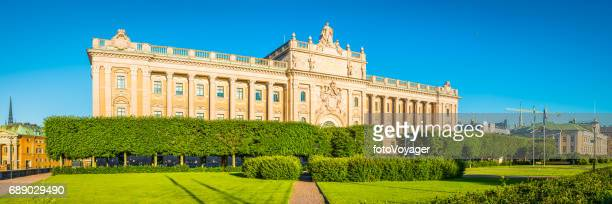 stockholm riksdagshuset swedish parliament house sunrise panorama gamla stan sweden - politics and government stock pictures, royalty-free photos & images