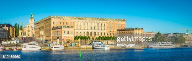 stockholm royal palace kungliga slottet panorama on gamla stan sweden - the stockholm palace stock pictures, royalty-free photos & images