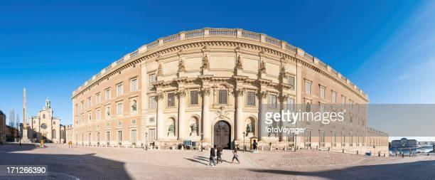 stockholm royal palace slottsbacken panorama - the stockholm palace stock pictures, royalty-free photos & images