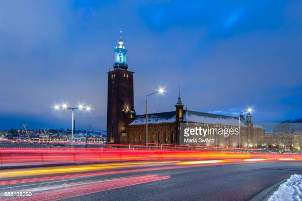Stockholm -  Stockholm City Hall with Light Trails in Winter