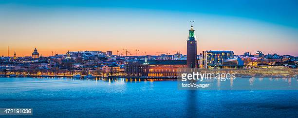Stockholm sunset cityscape panorama over harbour City Hall waterfront Sweden