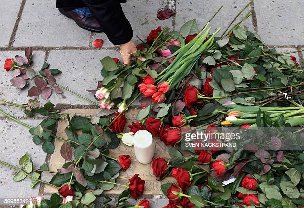 A flower is laid in memory of former Swedish Prime Minister Olof Palme 28 February 2006 at the place where he was assassinated 28 February 1986 in...