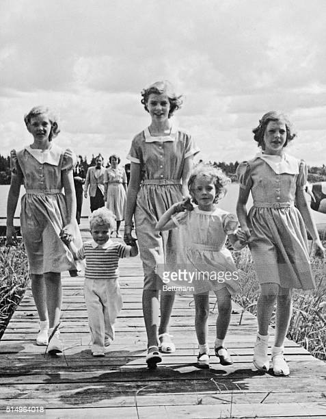 """Stockholm, Sweden"""" a Royal Greeting. All set to congratulate their great grandfather, King Gustaf V of Sweden, during yesterday's 91st birthday..."""