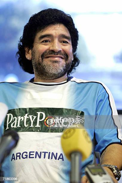 Argentinian soccer legend Diego Maradona holds a press conference in Stockholm 12 September 2006 Maradona will lead some of the 1986 Argentinian...
