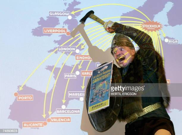 Dressed as some sort of a Viking and with an axe as pointer Ryanair MD Michael O'Leary presented 13 new routes from Stockholm/Skavsta airport during...