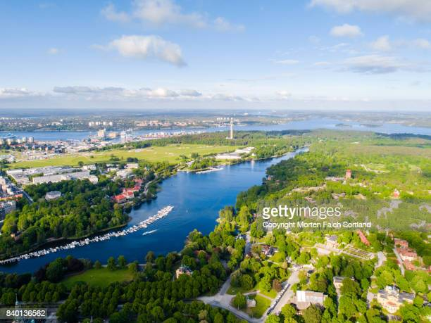 stockholm, sweden from above - djurgarden stock pictures, royalty-free photos & images