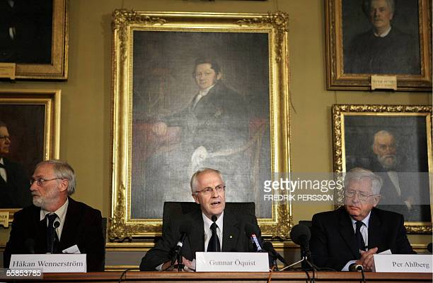 Gunnar Oquist announces at the Royal Academy of Sciences in Stockholm 05 October 2005 that France's Yves Chauvin and Americans Robert H Grubbs and...