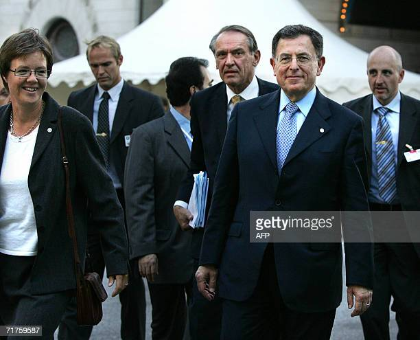 Lebanon's Prime Minister Fouad Siniora , together with Sweden's Minister of International Development Carin Jamtin and Swedish Foreign Minister Jan...