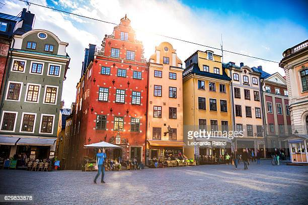 stockholm, sweden, old town and town square - stockholm stock pictures, royalty-free photos & images